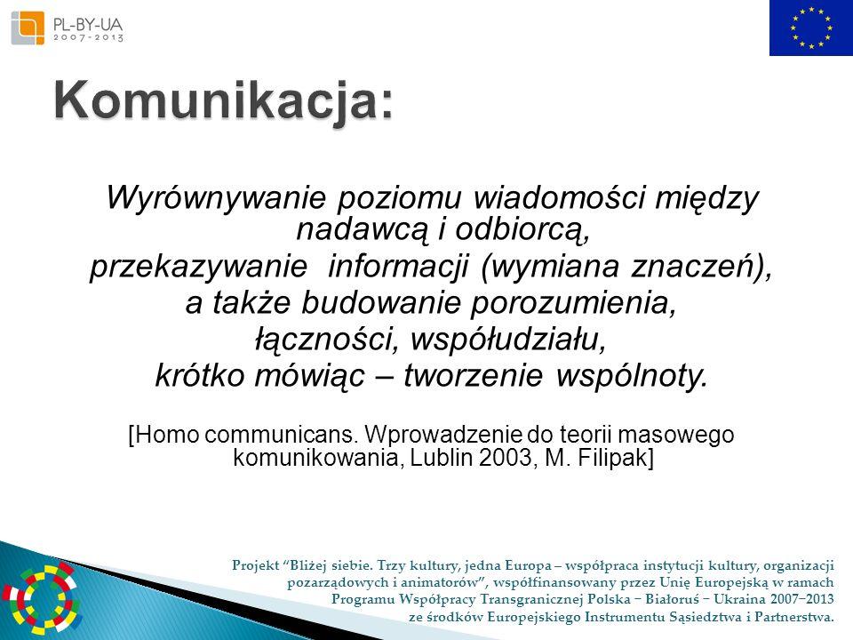 Komunikacja:Wyrównywanie poziomu wiadomości między nadawcą i odbiorcą, przekazywanie informacji (wymiana znaczeń),