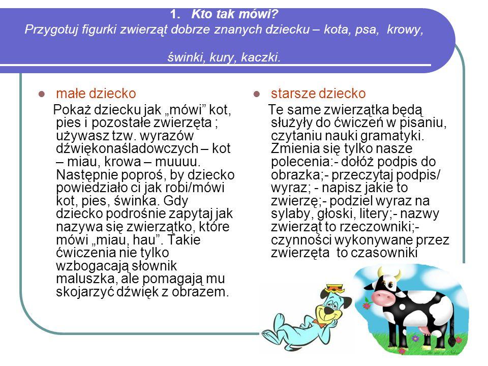 1. Kto tak mówi Przygotuj figurki zwierząt dobrze znanych dziecku – kota, psa, krowy, świnki, kury, kaczki.