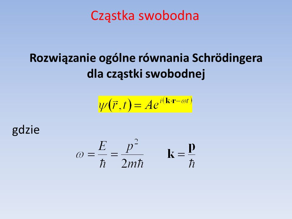 Rozwiązanie ogólne równania Schrödingera dla cząstki swobodnej gdzie