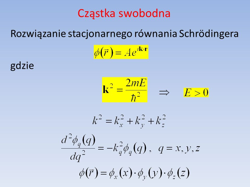 Cząstka swobodna Rozwiązanie stacjonarnego równania Schrödingera gdzie