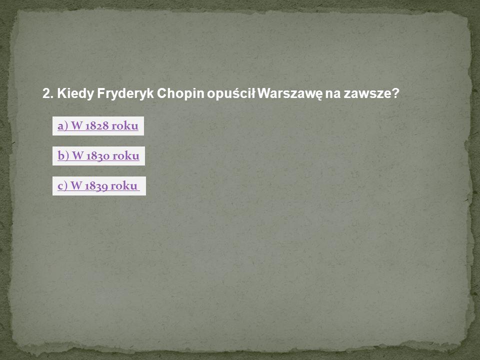2. Kiedy Fryderyk Chopin opuścił Warszawę na zawsze