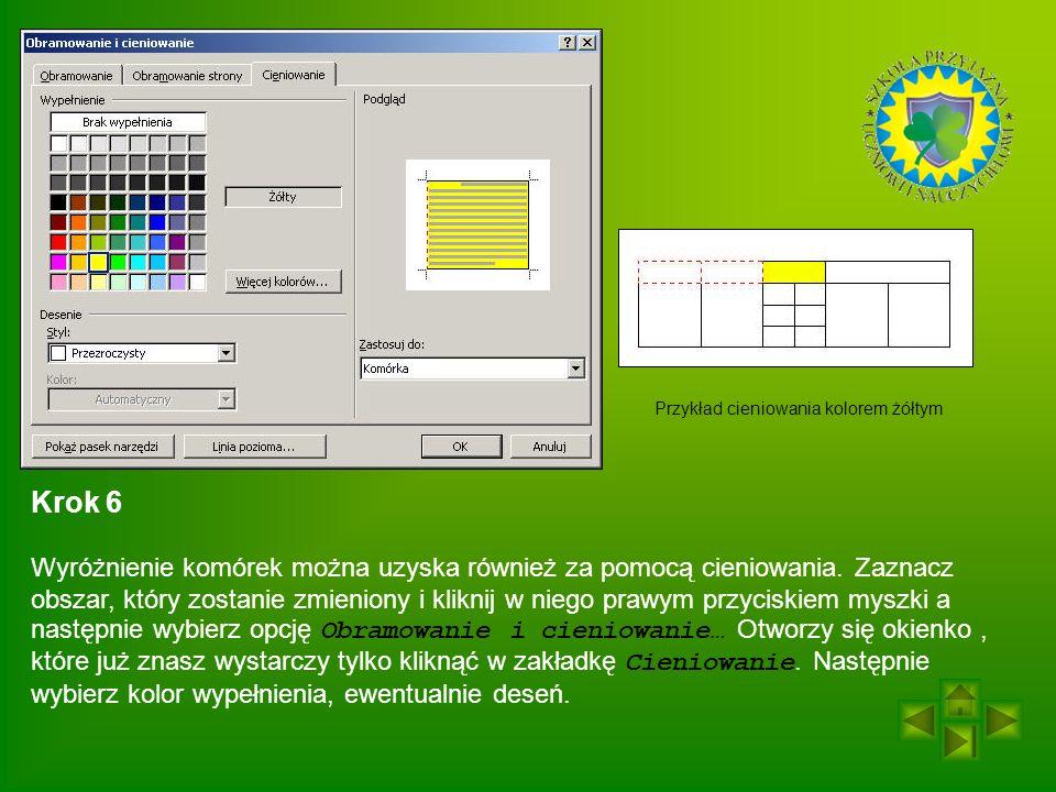 Przykład cieniowania kolorem żółtym