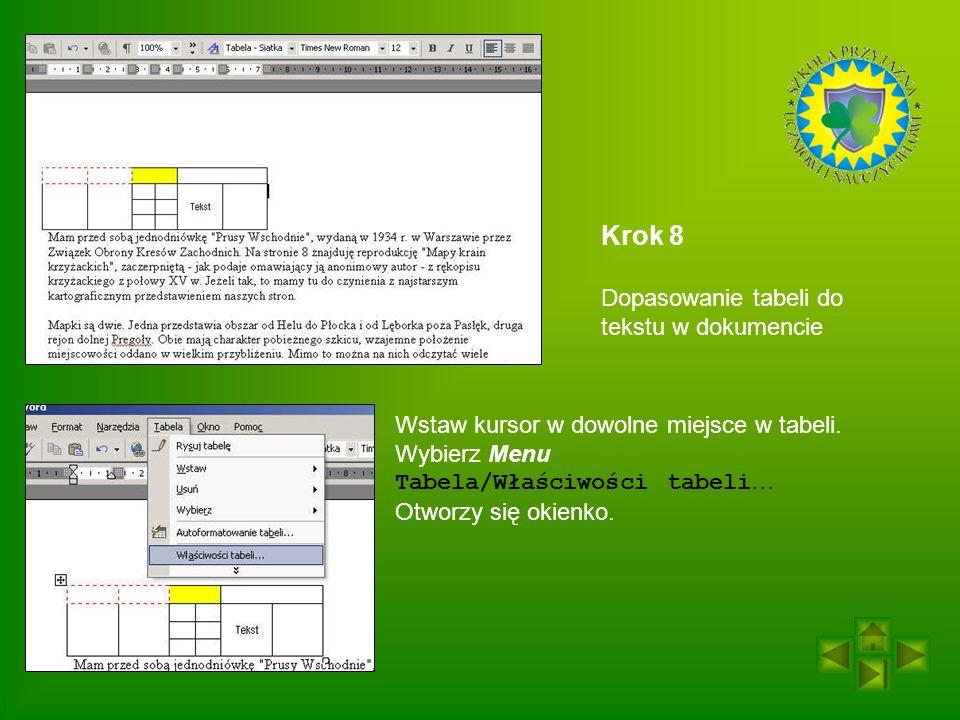 Krok 8 Dopasowanie tabeli do tekstu w dokumencie