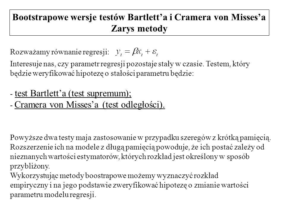 Bootstrapowe wersje testów Bartlett'a i Cramera von Misses'a