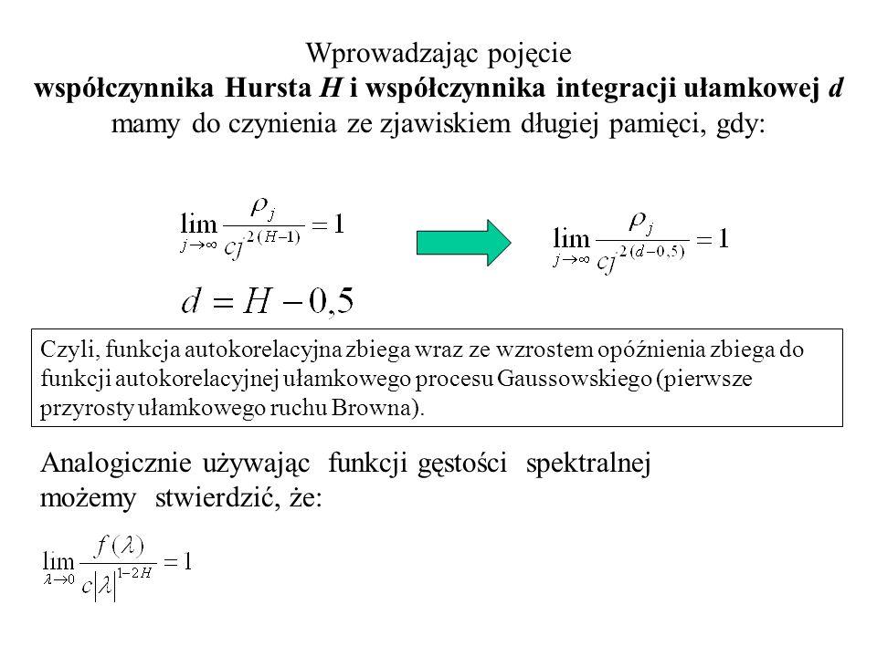 Analogicznie używając funkcji gęstości spektralnej