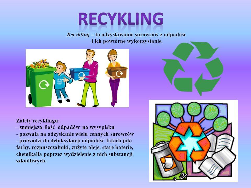 RECYKLING Recykling – to odzyskiwanie surowców z odpadów
