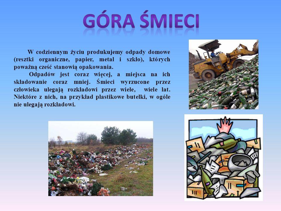 GÓRA ŚMIECI W codziennym życiu produkujemy odpady domowe (resztki organiczne, papier, metal i szkło), których poważną cześć stanowią opakowania.