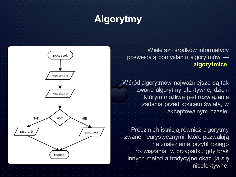 AlgorytmyWiele sił i środków informatycy poświęcają obmyślaniu algorytmów — algorytmice.