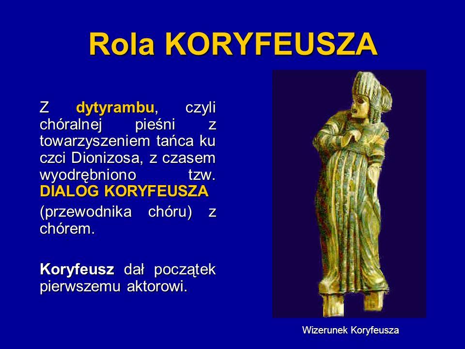 Rola KORYFEUSZA Z dytyrambu, czyli chóralnej pieśni z towarzyszeniem tańca ku czci Dionizosa, z czasem wyodrębniono tzw. DIALOG KORYFEUSZA.
