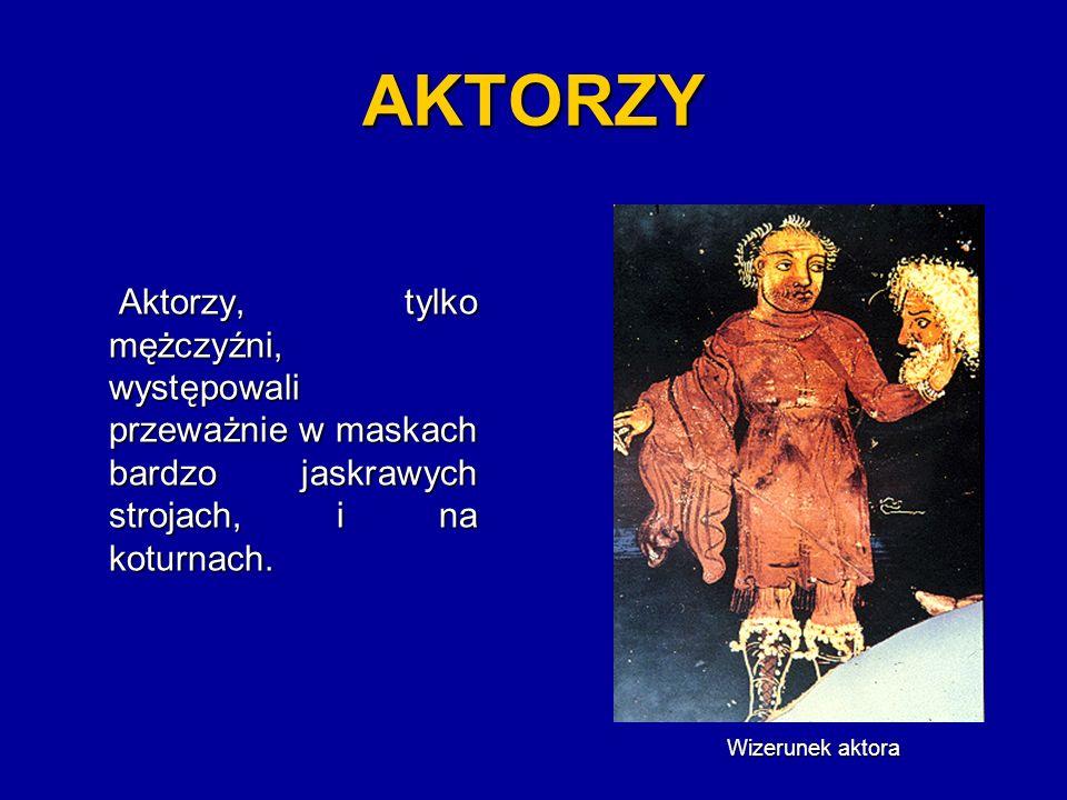 AKTORZY Aktorzy, tylko mężczyźni, występowali przeważnie w maskach bardzo jaskrawych strojach, i na koturnach.