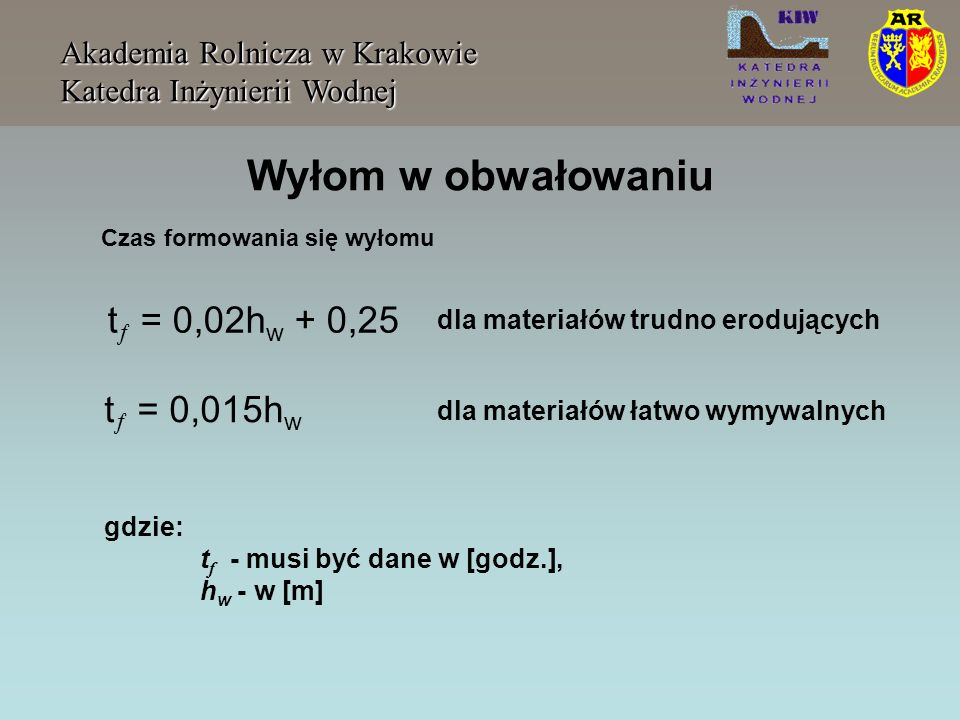 Wyłom w obwałowaniu t = 0,02hw + 0,25 t = 0,015hw