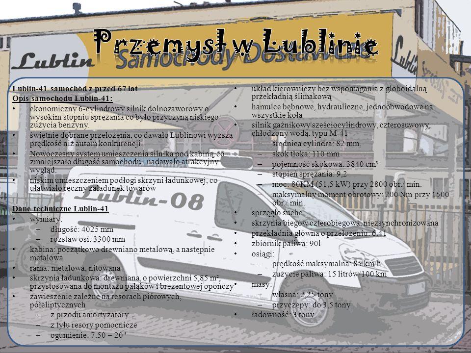 Przemysł w Lublinie Lublin-41 samochód z przed 67 lat