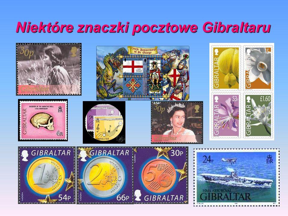Niektóre znaczki pocztowe Gibraltaru