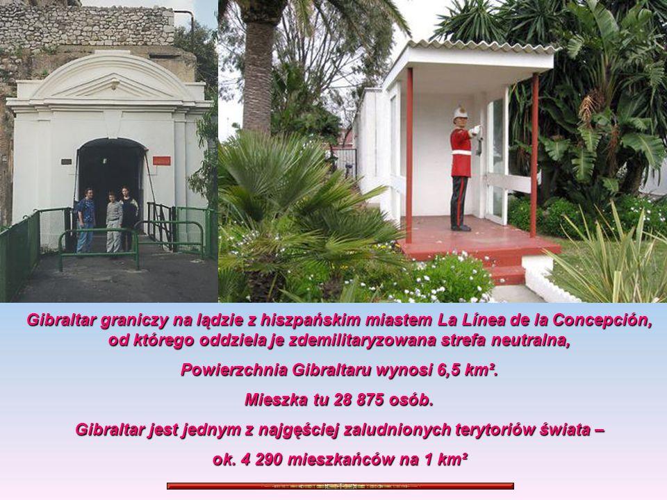 Powierzchnia Gibraltaru wynosi 6,5 km². Mieszka tu 28 875 osób.