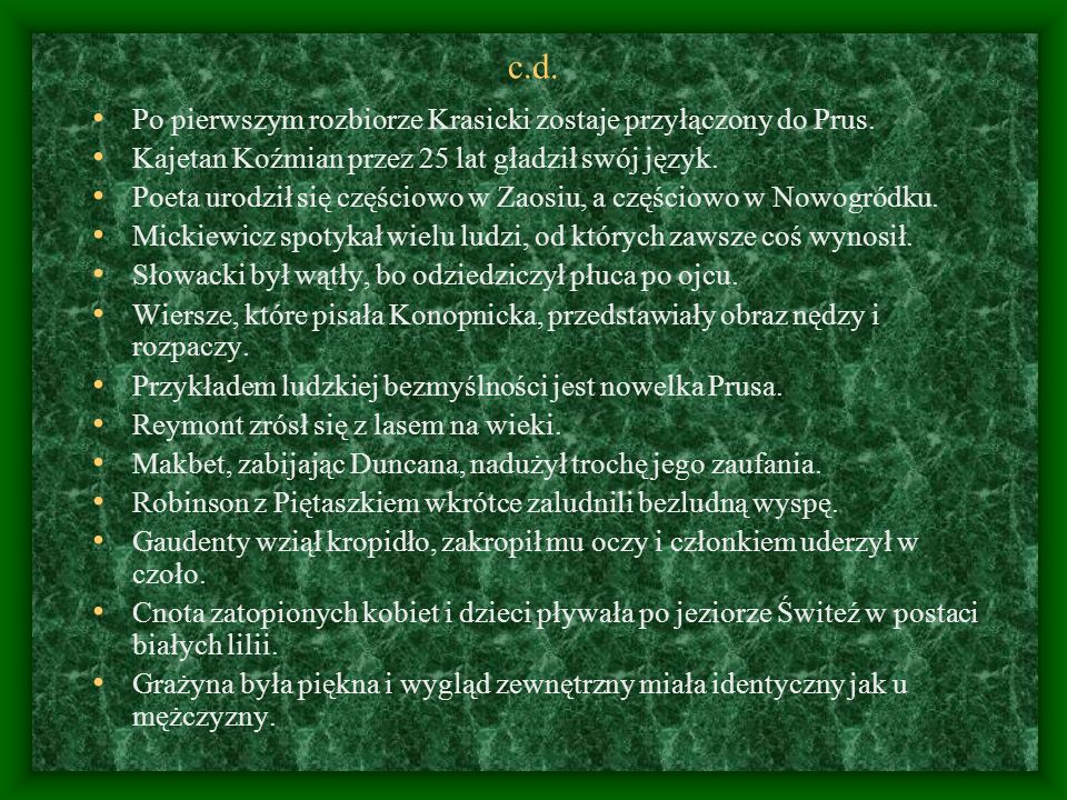 c.d. Po pierwszym rozbiorze Krasicki zostaje przyłączony do Prus.