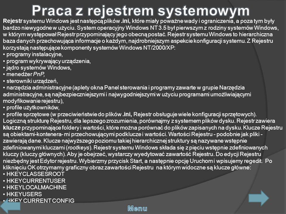 Praca z rejestrem systemowym