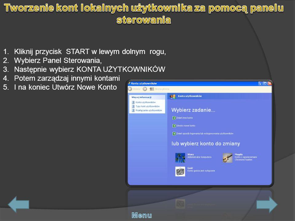 Tworzenie kont lokalnych użytkownika za pomocą panelu sterowania