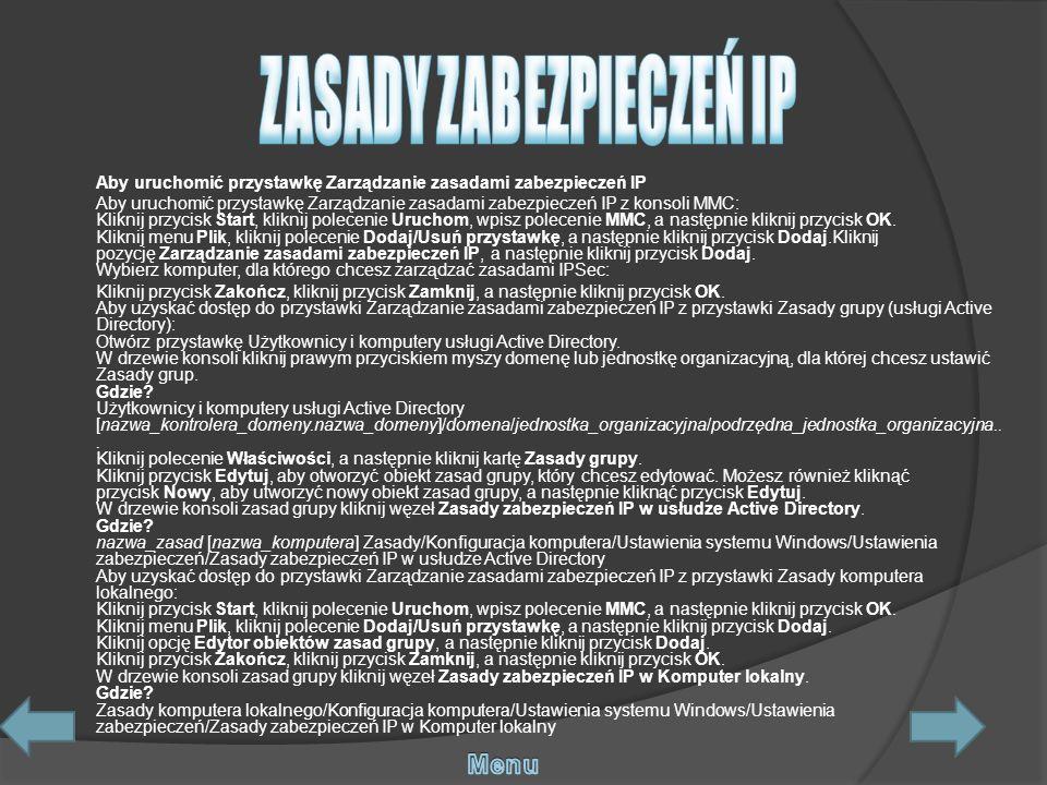 ZASADY ZABEZPIECZEŃ IP
