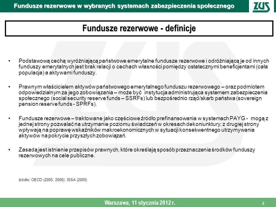 Fundusze rezerwowe w wybranych systemach zabezpieczenia społecznego