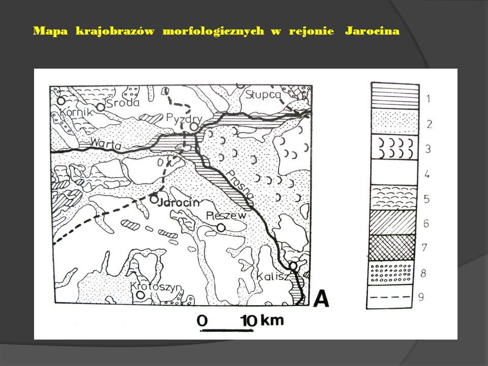 Mapa krajobrazów morfologicznych w rejonie Jarocina