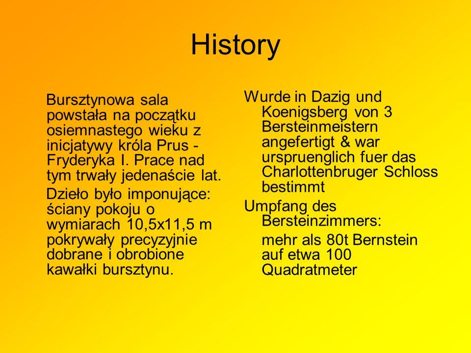 History Wurde in Dazig und Koenigsberg von 3 Bersteinmeistern angefertigt & war urspruenglich fuer das Charlottenbruger Schloss bestimmt.