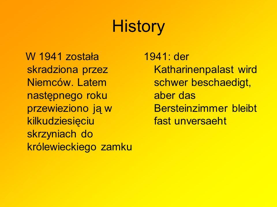 History W 1941 została skradziona przez Niemców. Latem następnego roku przewieziono ją w kilkudziesięciu skrzyniach do królewieckiego zamku.