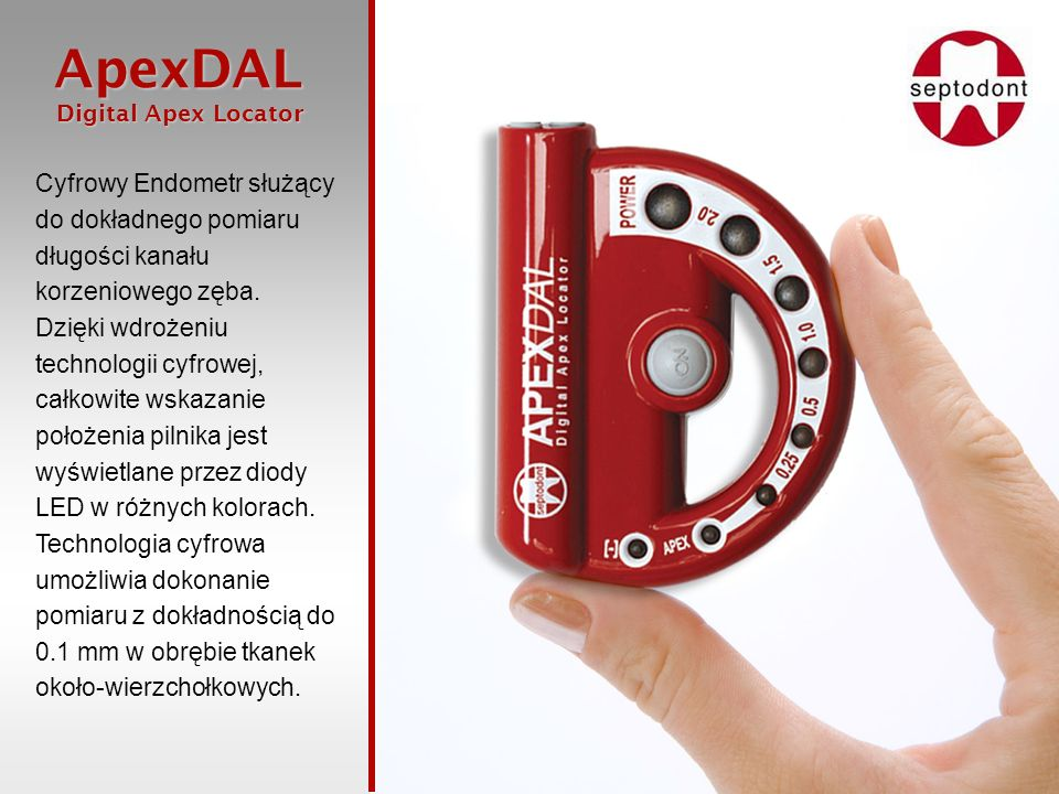 Cyfrowy Endometr służący do dokładnego pomiaru długości kanału korzeniowego zęba.