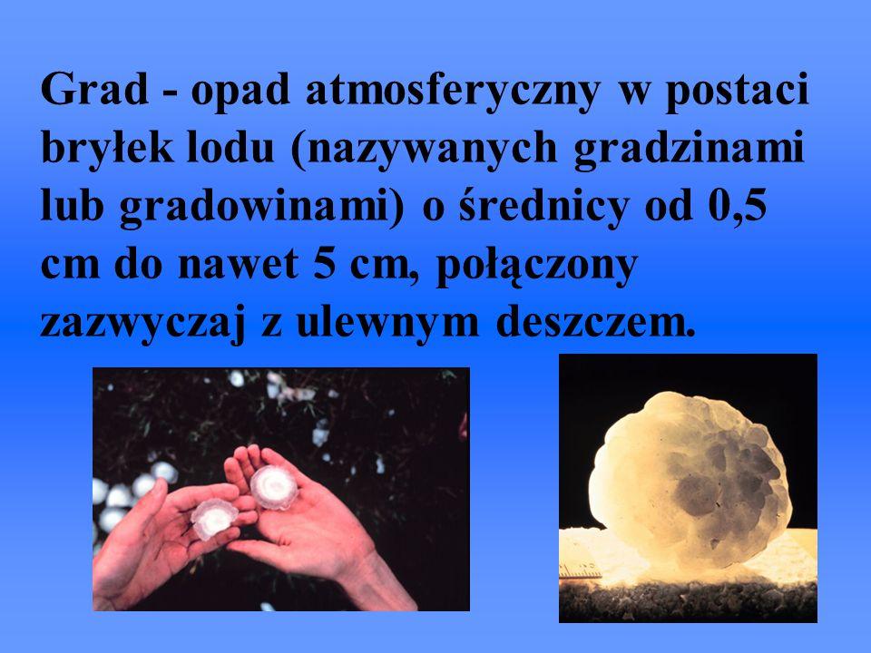Grad - opad atmosferyczny w postaci bryłek lodu (nazywanych gradzinami lub gradowinami) o średnicy od 0,5 cm do nawet 5 cm, połączony zazwyczaj z ulewnym deszczem.