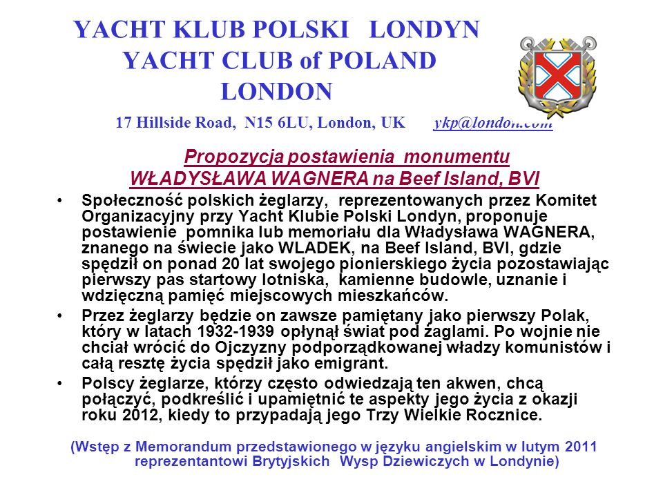 YACHT KLUB POLSKI LONDYN YACHT CLUB of POLAND LONDON