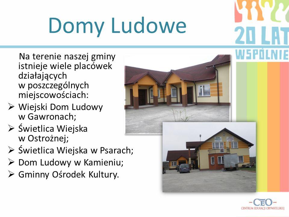 Domy Ludowe Na terenie naszej gminy istnieje wiele placówek działających w poszczególnych miejscowościach: