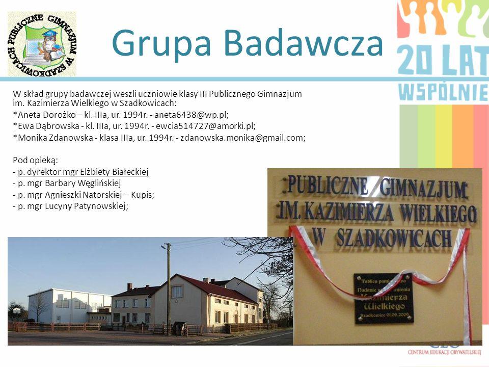 Grupa Badawcza W skład grupy badawczej weszli uczniowie klasy III Publicznego Gimnazjum im. Kazimierza Wielkiego w Szadkowicach: