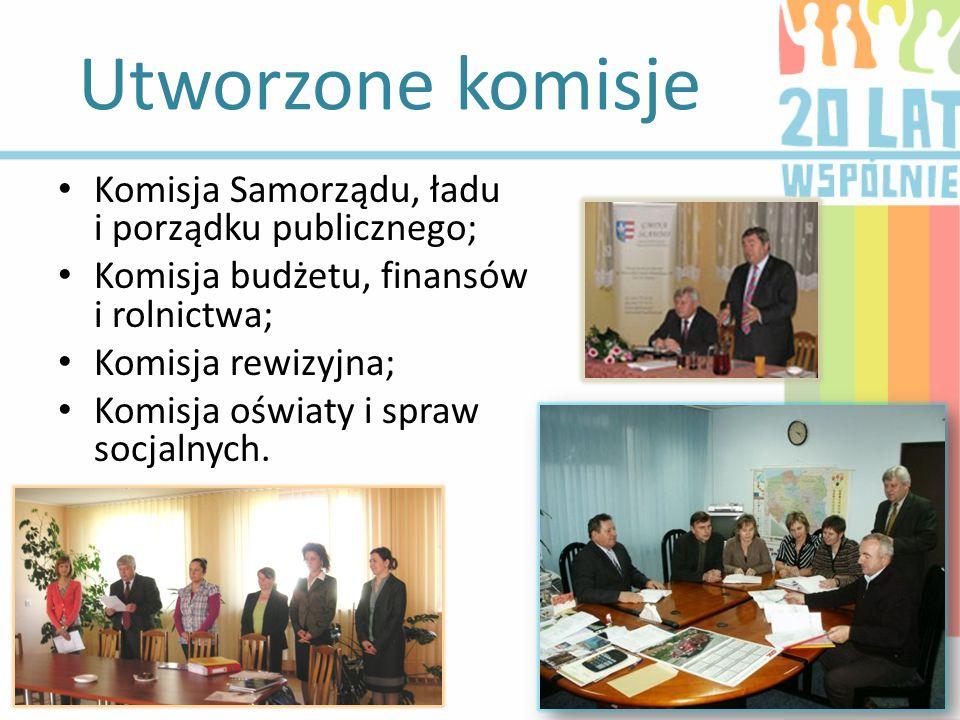 Utworzone komisje Komisja Samorządu, ładu i porządku publicznego;