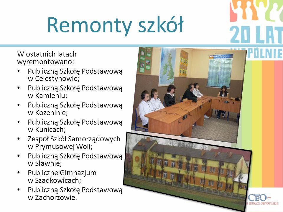Remonty szkół W ostatnich latach wyremontowano: