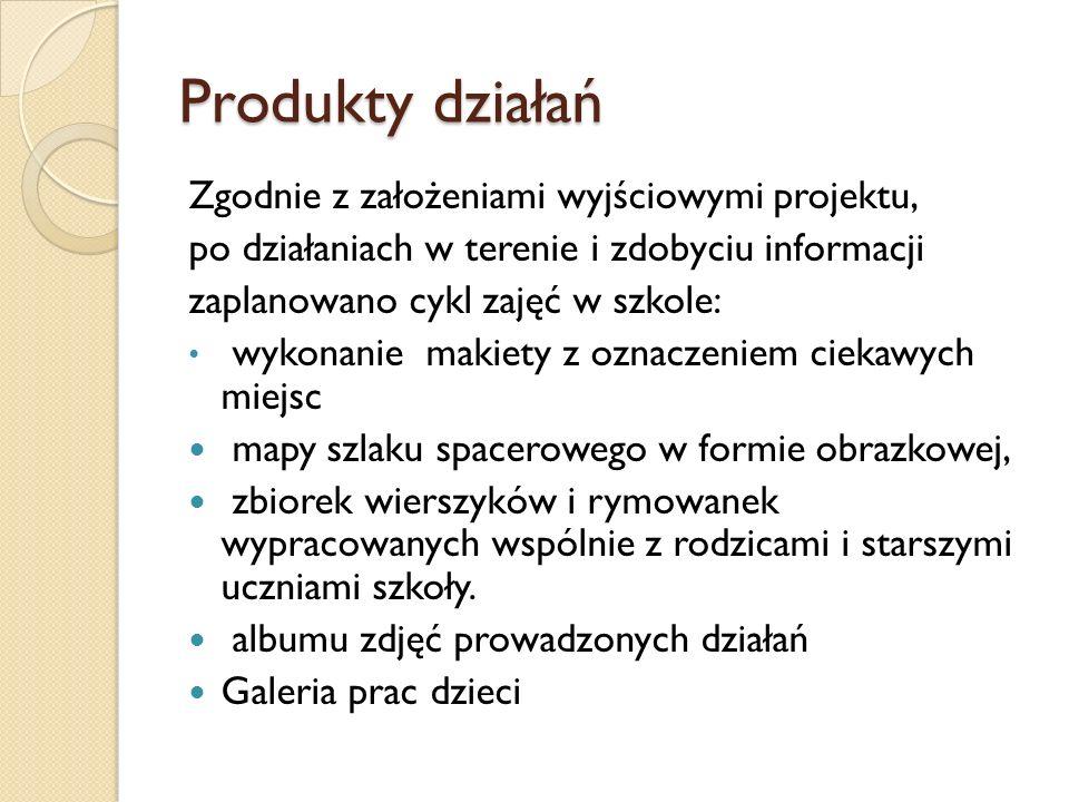 Produkty działań Zgodnie z założeniami wyjściowymi projektu,