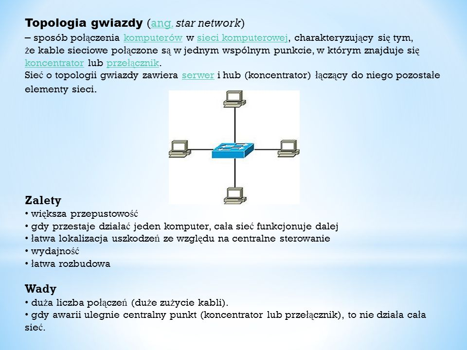 Topologia gwiazdy (ang. star network)
