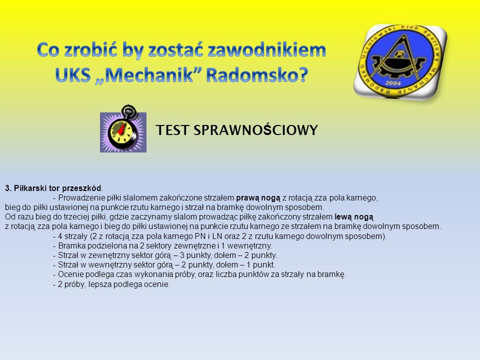 """Co zrobić by zostać zawodnikiem UKS """"Mechanik Radomsko"""