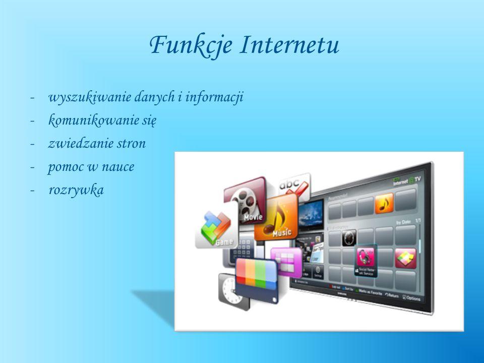 Funkcje Internetu wyszukiwanie danych i informacji komunikowanie się
