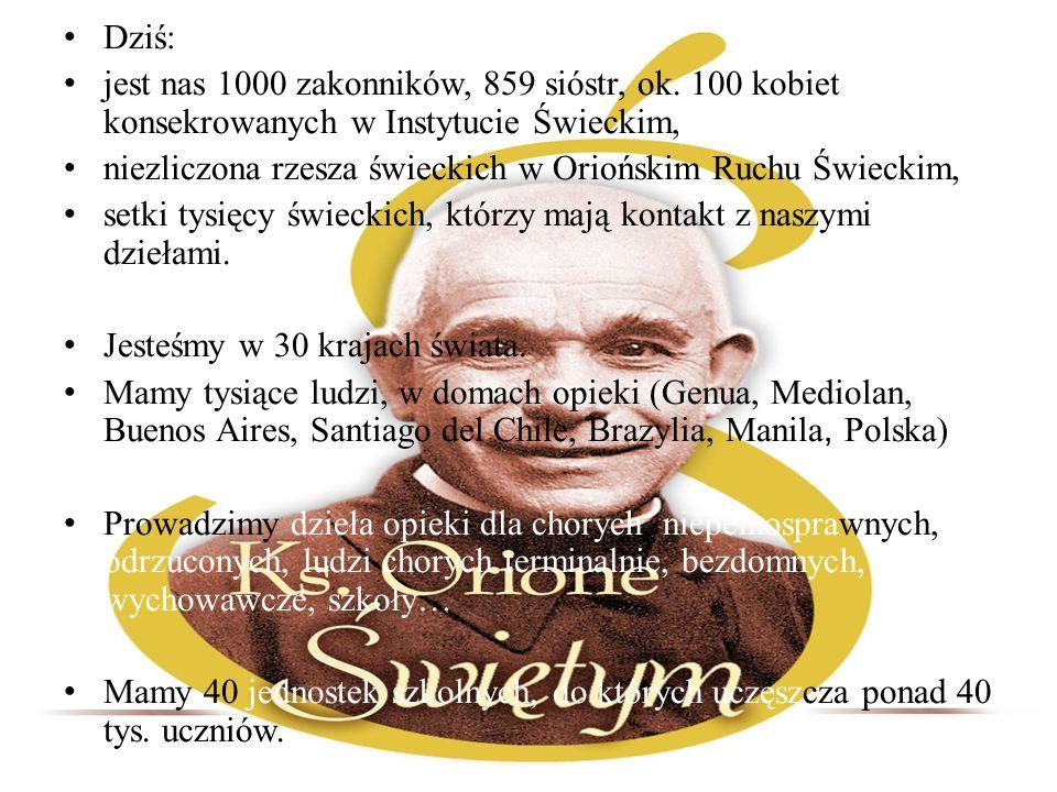Dziś: jest nas 1000 zakonników, 859 sióstr, ok. 100 kobiet konsekrowanych w Instytucie Świeckim,