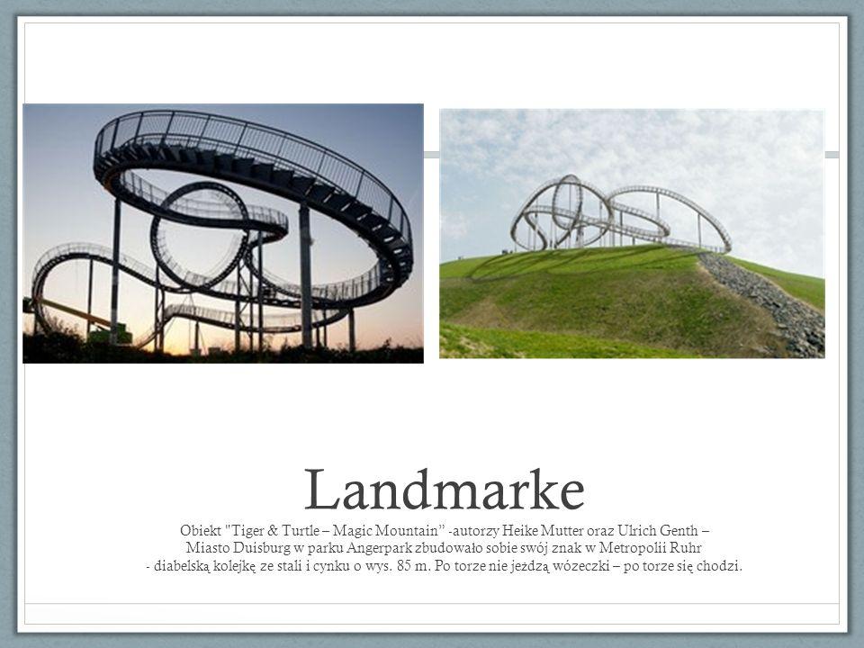 Landmarke Obiekt Tiger & Turtle – Magic Mountain -autorzy Heike Mutter oraz Ulrich Genth – Miasto Duisburg w parku Angerpark zbudowało sobie swój znak w Metropolii Ruhr - diabelską kolejkę ze stali i cynku o wys.