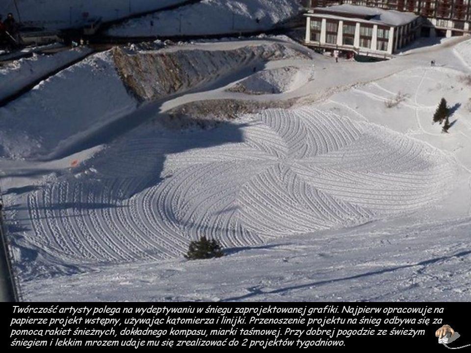 Twórczość artysty polega na wydeptywaniu w śniegu zaprojektowanej grafiki.