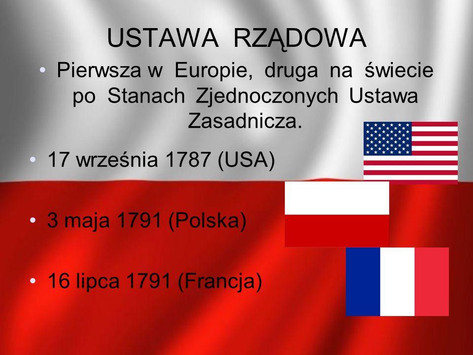 USTAWA RZĄDOWA Pierwsza w Europie, druga na świecie po Stanach Zjednoczonych Ustawa Zasadnicza.