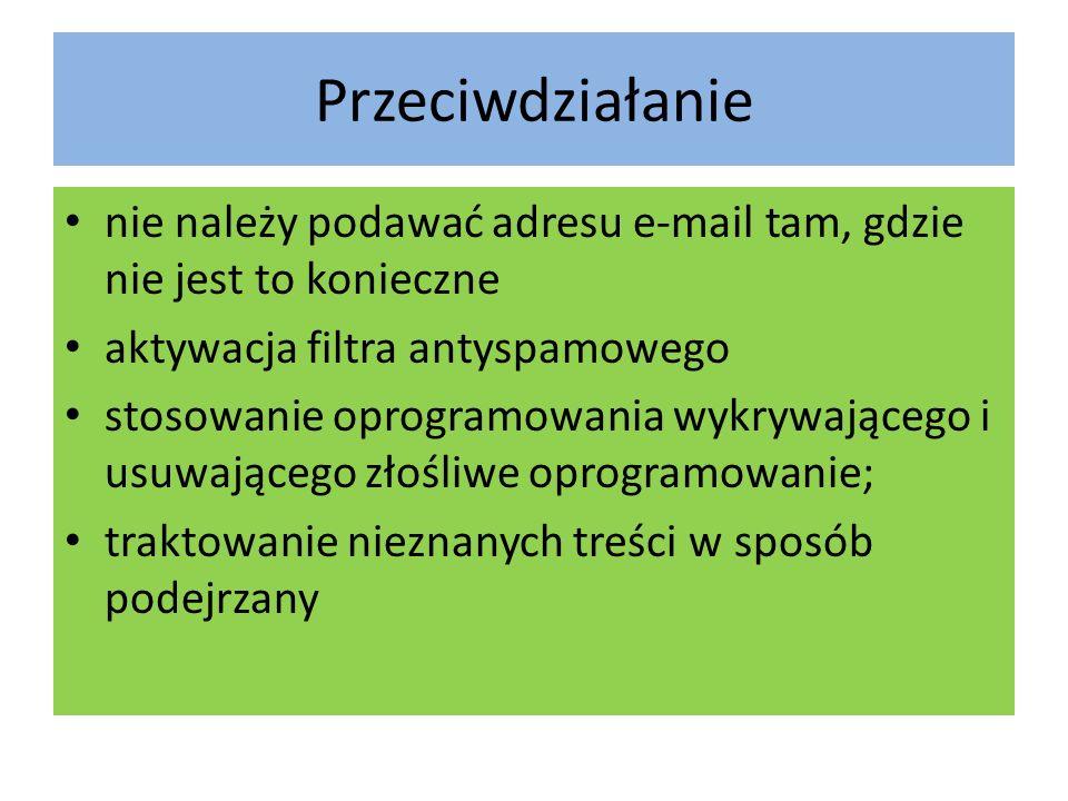 Przeciwdziałanie nie należy podawać adresu e-mail tam, gdzie nie jest to konieczne. aktywacja filtra antyspamowego.