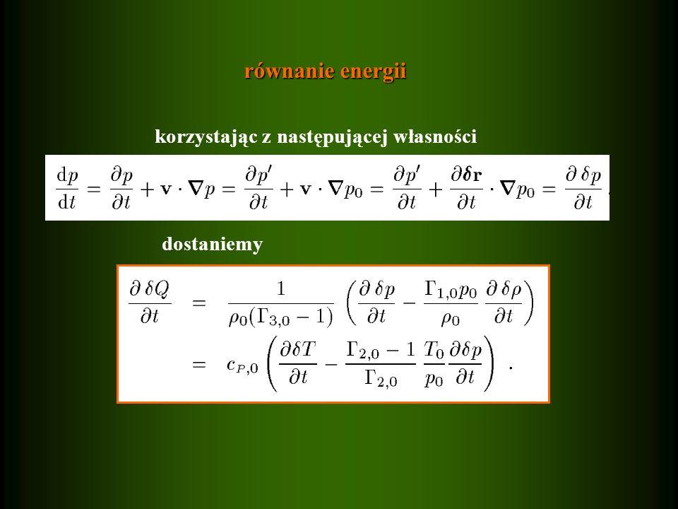 równanie energii korzystając z następującej własności dostaniemy