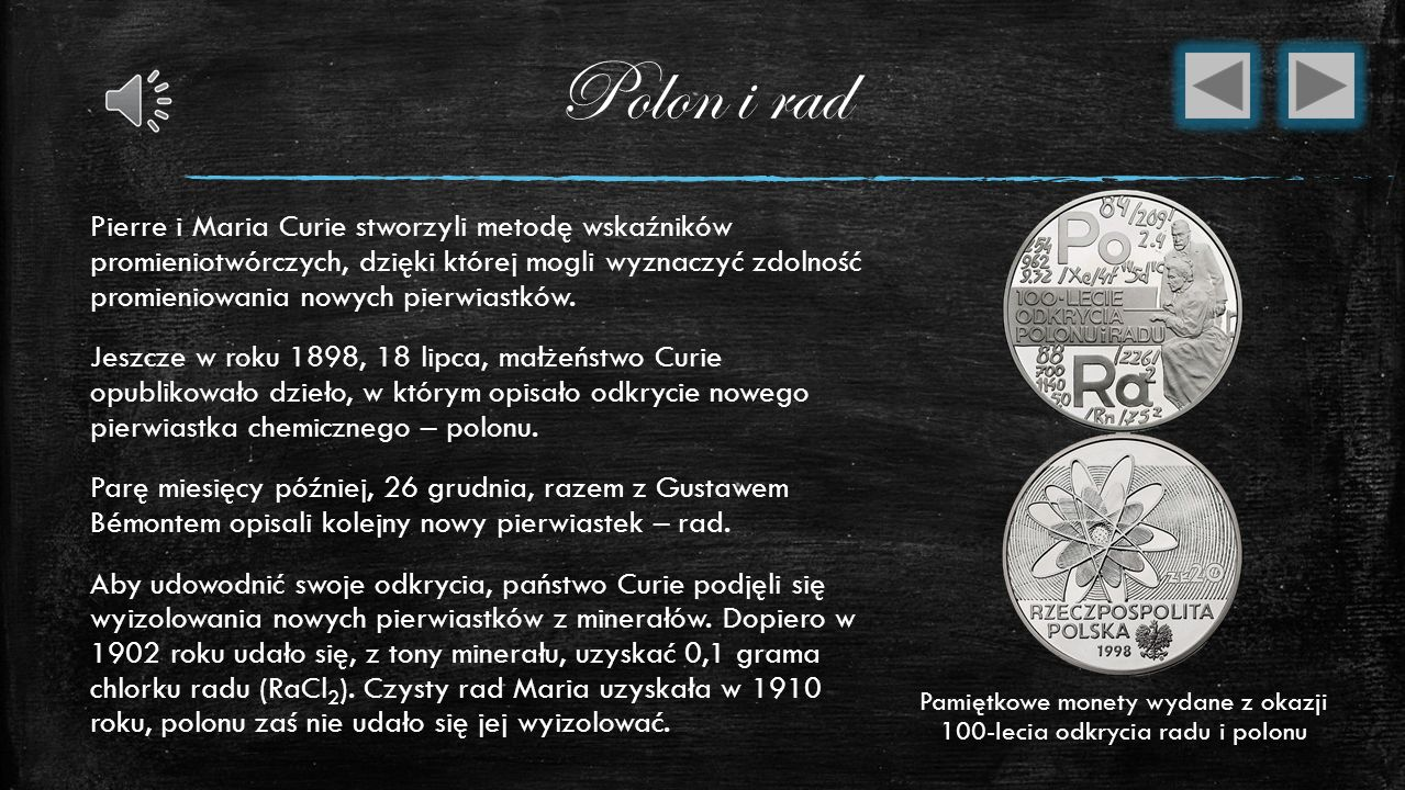 Pamiętkowe monety wydane z okazji 100-lecia odkrycia radu i polonu
