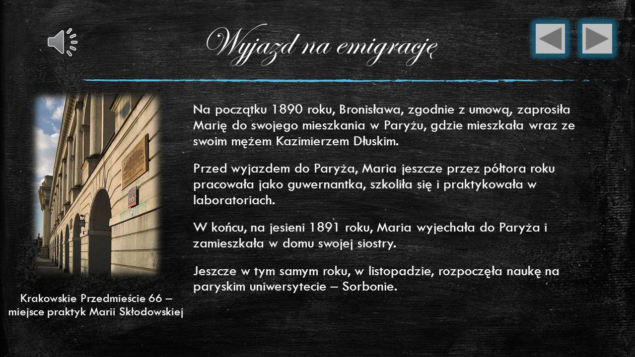 Krakowskie Przedmieście 66 – miejsce praktyk Marii Skłodowskiej
