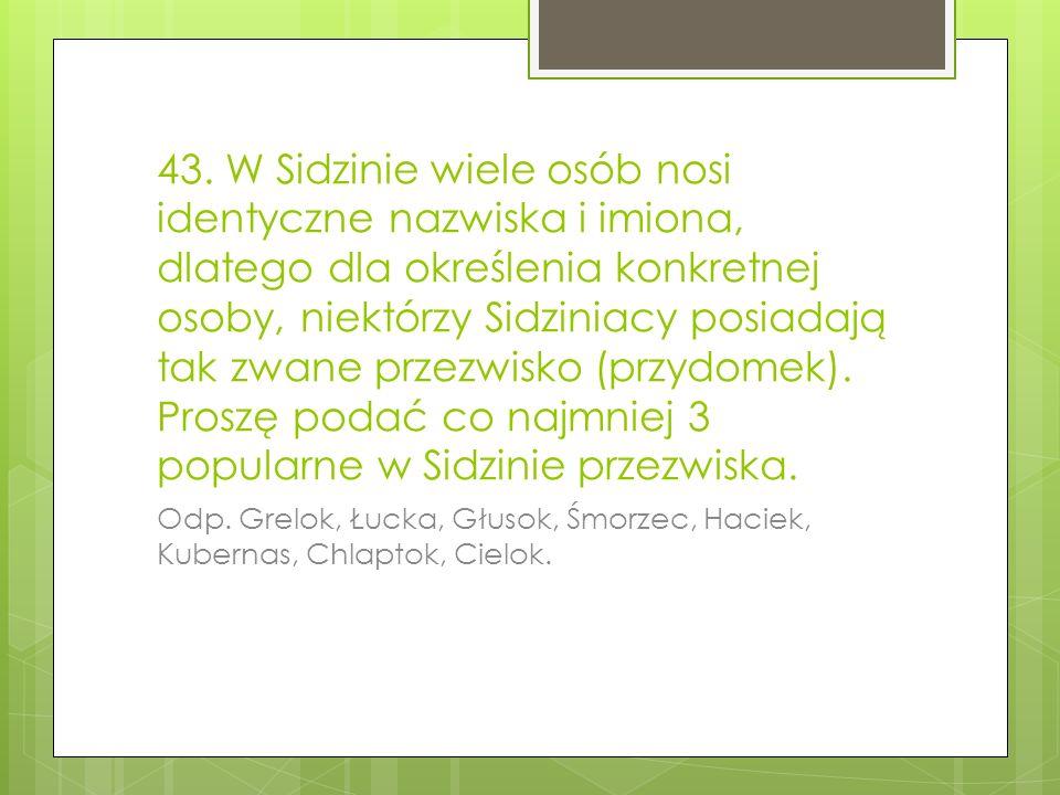 43. W Sidzinie wiele osób nosi identyczne nazwiska i imiona, dlatego dla określenia konkretnej osoby, niektórzy Sidziniacy posiadają tak zwane przezwisko (przydomek). Proszę podać co najmniej 3 popularne w Sidzinie przezwiska.
