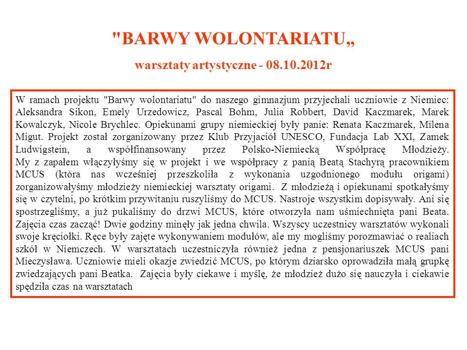 warsztaty artystyczne - 08.10.2012r