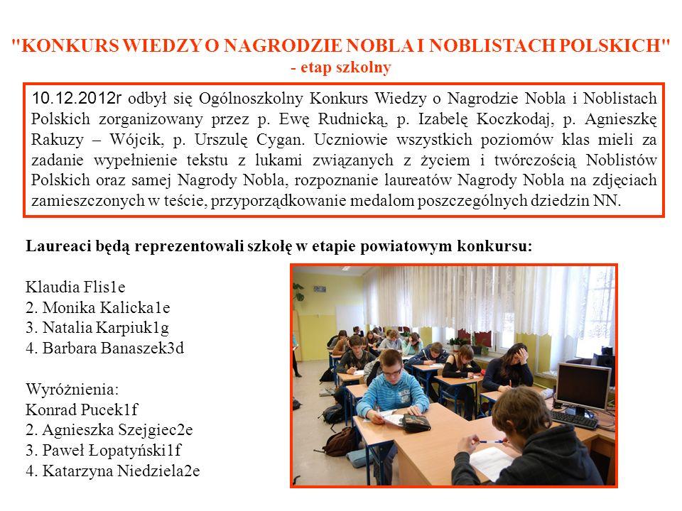 KONKURS WIEDZY O NAGRODZIE NOBLA I NOBLISTACH POLSKICH - etap szkolny