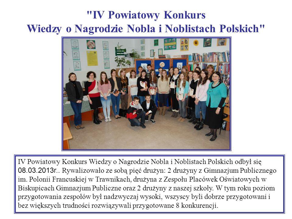 IV Powiatowy Konkurs Wiedzy o Nagrodzie Nobla i Noblistach Polskich