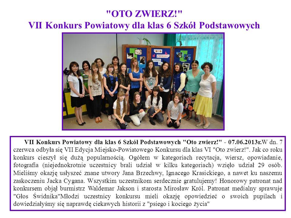OTO ZWIERZ! VII Konkurs Powiatowy dla klas 6 Szkół Podstawowych
